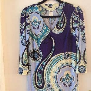 Ali-Ro VNeck Dress Turquoise Purple Paisley Size 4